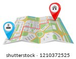 abstract city map paper folded... | Shutterstock .eps vector #1210372525