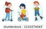illustration of kids sports.... | Shutterstock .eps vector #1210376065