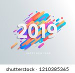 creative happy new year 2019... | Shutterstock . vector #1210385365