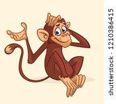 cute cartoon monkey sitting.... | Shutterstock .eps vector #1210386415