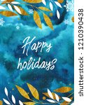 watercolor card with twigs on... | Shutterstock . vector #1210390438