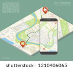 isometry city map route... | Shutterstock . vector #1210406065