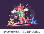 circus show with cute clown and ...   Shutterstock .eps vector #1210430812