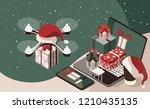 flight drones with christmas... | Shutterstock .eps vector #1210435135