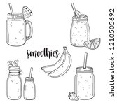 set of hand drawn smoothies in... | Shutterstock .eps vector #1210505692