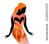 young beautiful woman presents... | Shutterstock . vector #1210511515