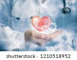 a doctor is carefuly keeping a... | Shutterstock . vector #1210518952