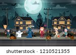 children in monster costumes on ... | Shutterstock .eps vector #1210521355