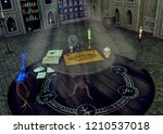 a table with an ouija board  a... | Shutterstock . vector #1210537018