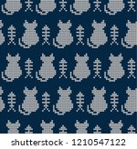knitted seamless pattern with... | Shutterstock .eps vector #1210547122