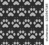 seamless knitted pattern with... | Shutterstock .eps vector #1210547185