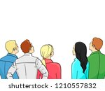 a crowd of spectators stand... | Shutterstock .eps vector #1210557832