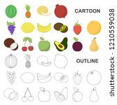 different fruits cartoon icons... | Shutterstock .eps vector #1210559038