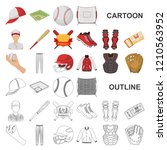 baseball and attributes cartoon ... | Shutterstock .eps vector #1210563952