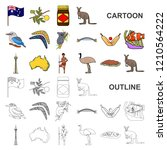 country australia cartoon icons ... | Shutterstock .eps vector #1210564222