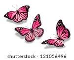 Three Pink Butterflies ...