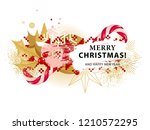 christmas card with holly and... | Shutterstock .eps vector #1210572295