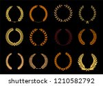 vector laurel autumn wreaths on ... | Shutterstock .eps vector #1210582792
