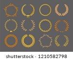 vector laurel autumn wreaths on ... | Shutterstock .eps vector #1210582798