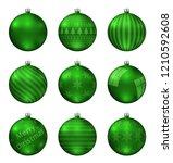green christmas balls isolated... | Shutterstock .eps vector #1210592608