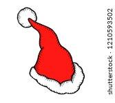 hand drawn santa claus hat... | Shutterstock . vector #1210593502