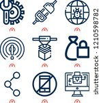 simple set of  9 outline icons... | Shutterstock .eps vector #1210598782