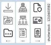 simple set of  9 outline icons... | Shutterstock .eps vector #1210603582