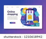 online shopping landing page... | Shutterstock .eps vector #1210618942