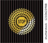 stop icon inside gold badge | Shutterstock .eps vector #1210623988