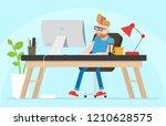 young hipster freelancer... | Shutterstock .eps vector #1210628575