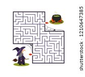 square labyrinth with witch and ... | Shutterstock .eps vector #1210647385