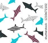 colorful sharks seamless... | Shutterstock .eps vector #1210672102