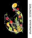 fresh fruits falling in water... | Shutterstock . vector #121067602