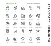 lunch icons   outline styled... | Shutterstock .eps vector #1210677535