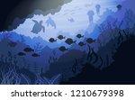 coral reef and underwater... | Shutterstock .eps vector #1210679398
