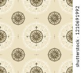 seamless vintage compass rose... | Shutterstock .eps vector #1210691992