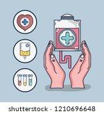 blood donation cartoon | Shutterstock .eps vector #1210696648