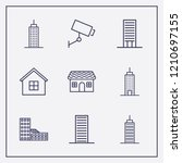 outline 9 property icon set.... | Shutterstock .eps vector #1210697155