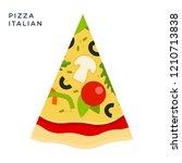 triangular piece of italian... | Shutterstock .eps vector #1210713838