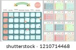 colorful cute monthly calendar... | Shutterstock .eps vector #1210714468