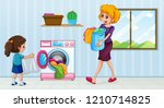 mother and daughter doing... | Shutterstock .eps vector #1210714825