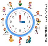 woman activity on clock... | Shutterstock .eps vector #1210714828