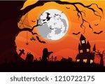 happy halloween vector...   Shutterstock .eps vector #1210722175