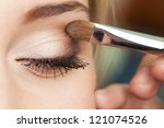 Eye Makeup Woman Applying...