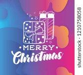 merry christmas. typography.... | Shutterstock .eps vector #1210758058