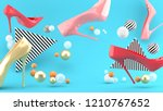 high heeled shoes amid colorful ...   Shutterstock . vector #1210767652