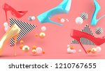 high heeled shoes amid colorful ... | Shutterstock . vector #1210767655