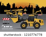 construction vehicles set with... | Shutterstock .eps vector #1210776778