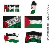 palestine flag and map in... | Shutterstock . vector #121077772