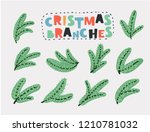 set vector christmas tree... | Shutterstock .eps vector #1210781032